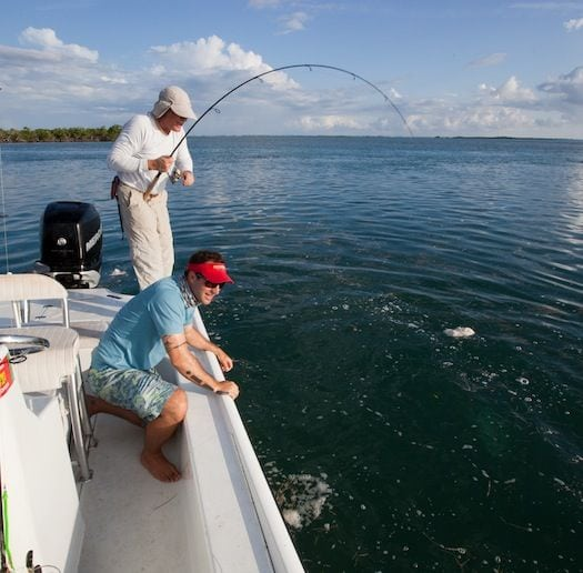 Ken Ivey getting a tarpon close to the boat. Nathaniel prepared to apprehend--Aaron Snell photo