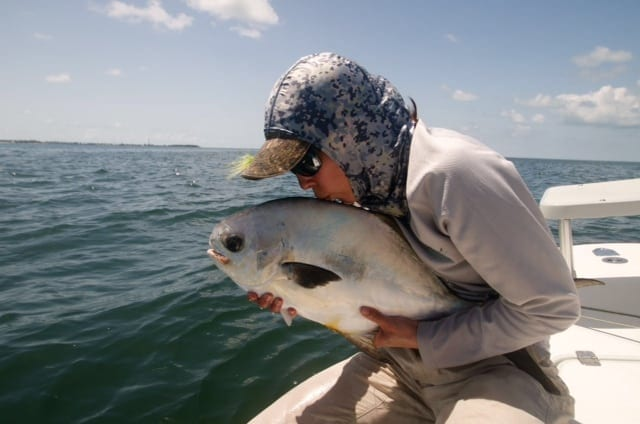 Kathryn Vallilee says goodbye properly to her first permit on fly, caught with Drew Delashmit in the final day of the 2014 Del Brown Permit Tournament. Nice work Kat and Drew! Photo/guiding Captain Drew Delashmit