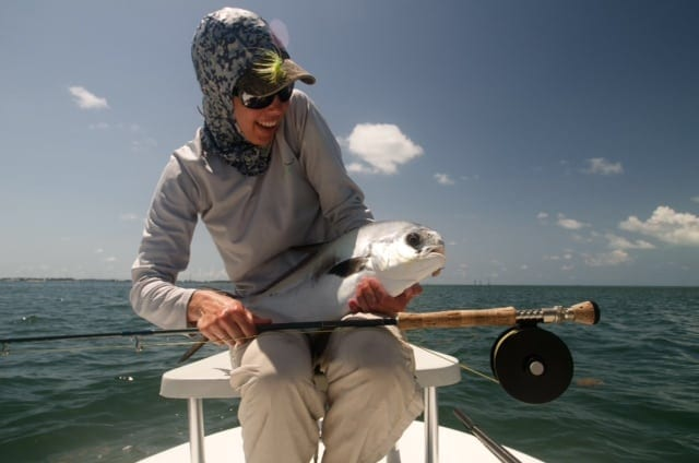 Another picture from Drew Delashmit of Kat Vallilee and her first permit on fly. Guiding/Photo courtesy Drew Delashmit