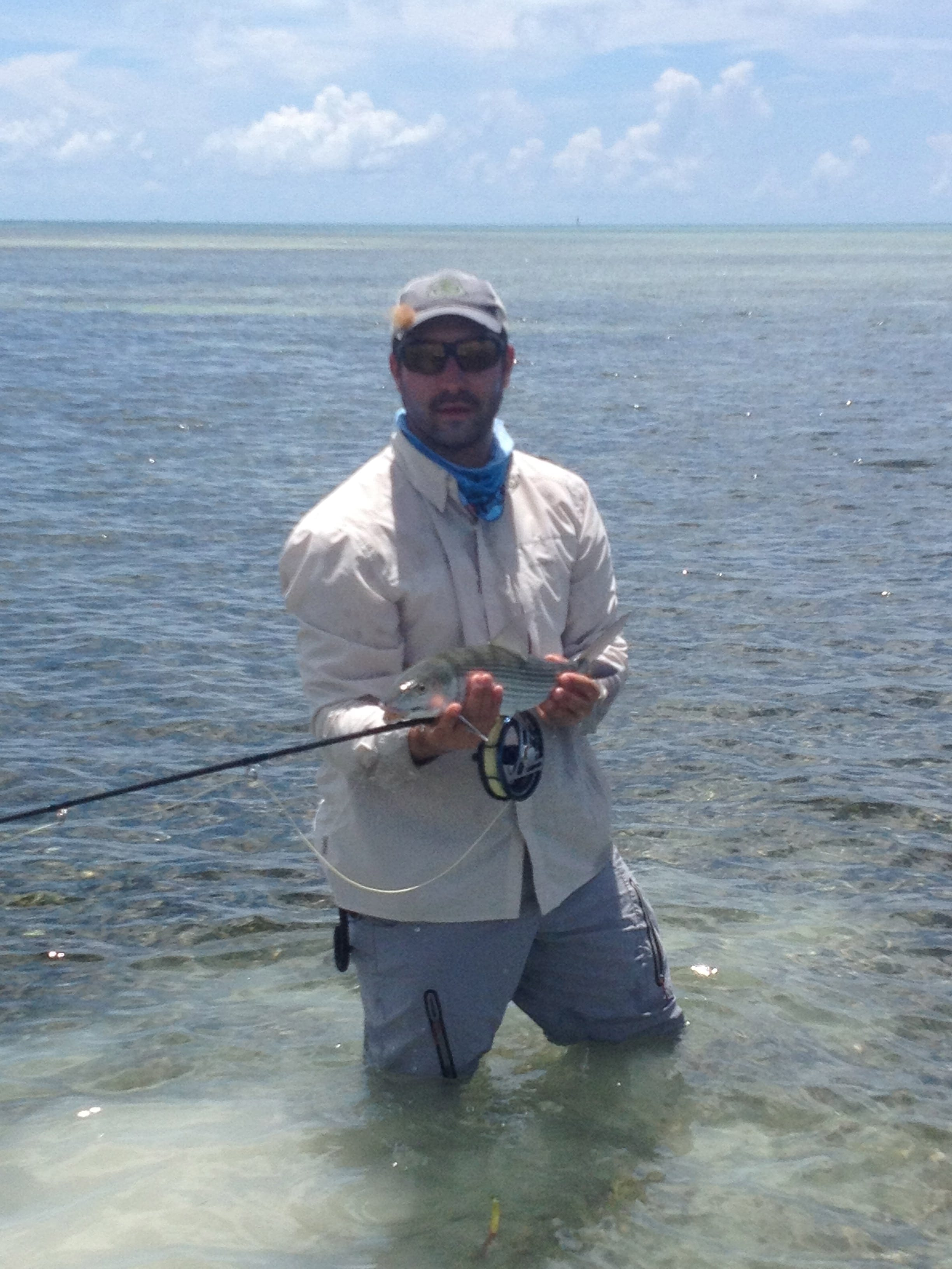 2 August, 2014. A bonefish, on 2 lb tippet. John O'Hearn guiding/photo. While not the permit we were looking for, this was a nice addition to a light tippet excursion.