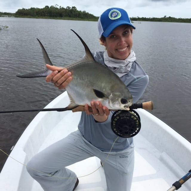 Kat's second fish from Belize, 2016. Photo Nathaniel Linville, guiding Eworth Garbutt