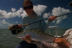 Kathryn and a nice bonefish. Photo/guiding Drew Delashmit