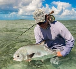 Jason kicks off the permit party with a 21#. Photo/guiding Captain Aaron Snell