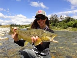 Kat with a nice South Island brown. Guiding John Gendall
