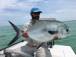 Ian Slater guided Nathaniel to this nice May permit. Photo/guiding Ian Slater
