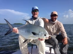 Chad Huff with his first permit on fly. That's right. Guiding/photo John O'Hearn
