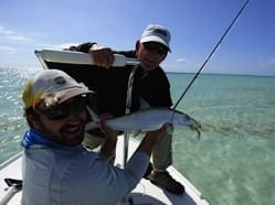 Fitz Coker caught the largest bonefish of our trip.....on a barracuda fly and a wire leader.