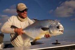 Ian Slater holds the first of three for an evening of permit fishing, 1 September. Frankie Marion photo, guiding Ian Slater