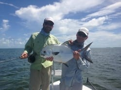From left to right: Dave Skok, a nice permit, Captain Simon Becker. Photo courtesy Nathaniel Linville