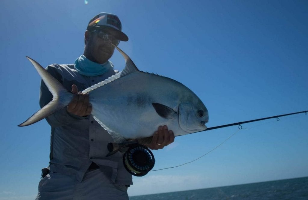 Nate and a November permit. Photo Nick Labadie, guiding Brandon Cyr/Nick Labadie