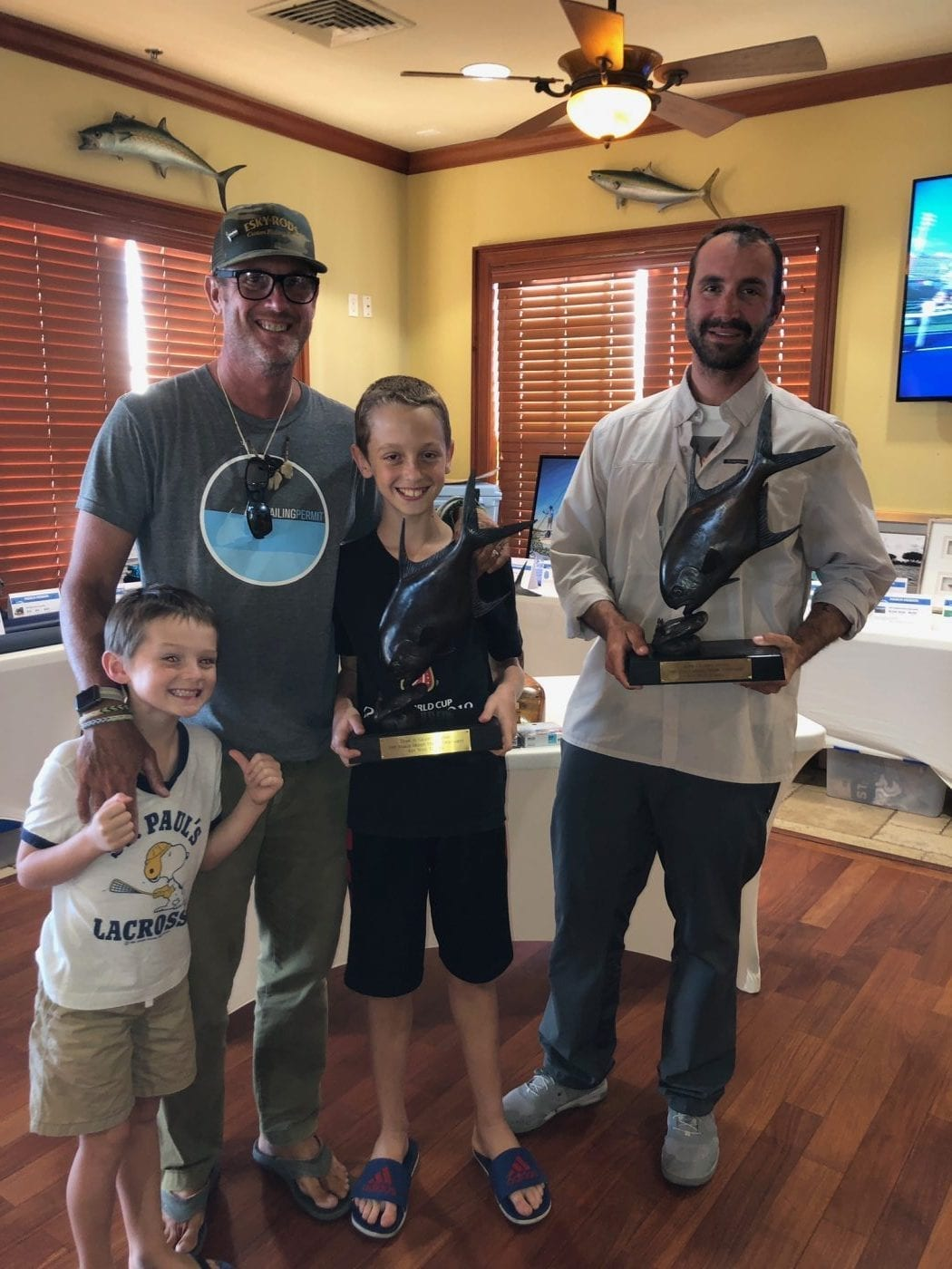 Work hard, earn trophies: John O'Hearn fathers some good lessons in to his kids at the 2019 March Merkin. Photo Loren Rea